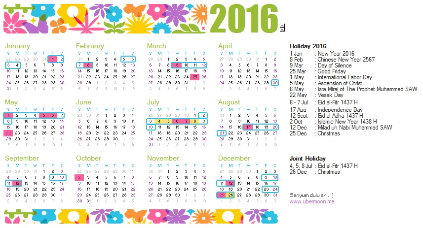 2016 Indonesia Calendar | The Uber Journey