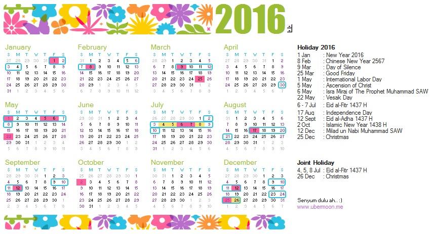 2016 Indonesia Calendar | The Uber Journey